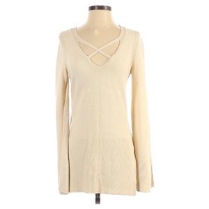 Free People Ivory Bell Sleeve Linen Tunic Sweater
